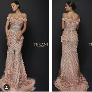 Terani Couture Off the Shoulder Floral Gown Blush